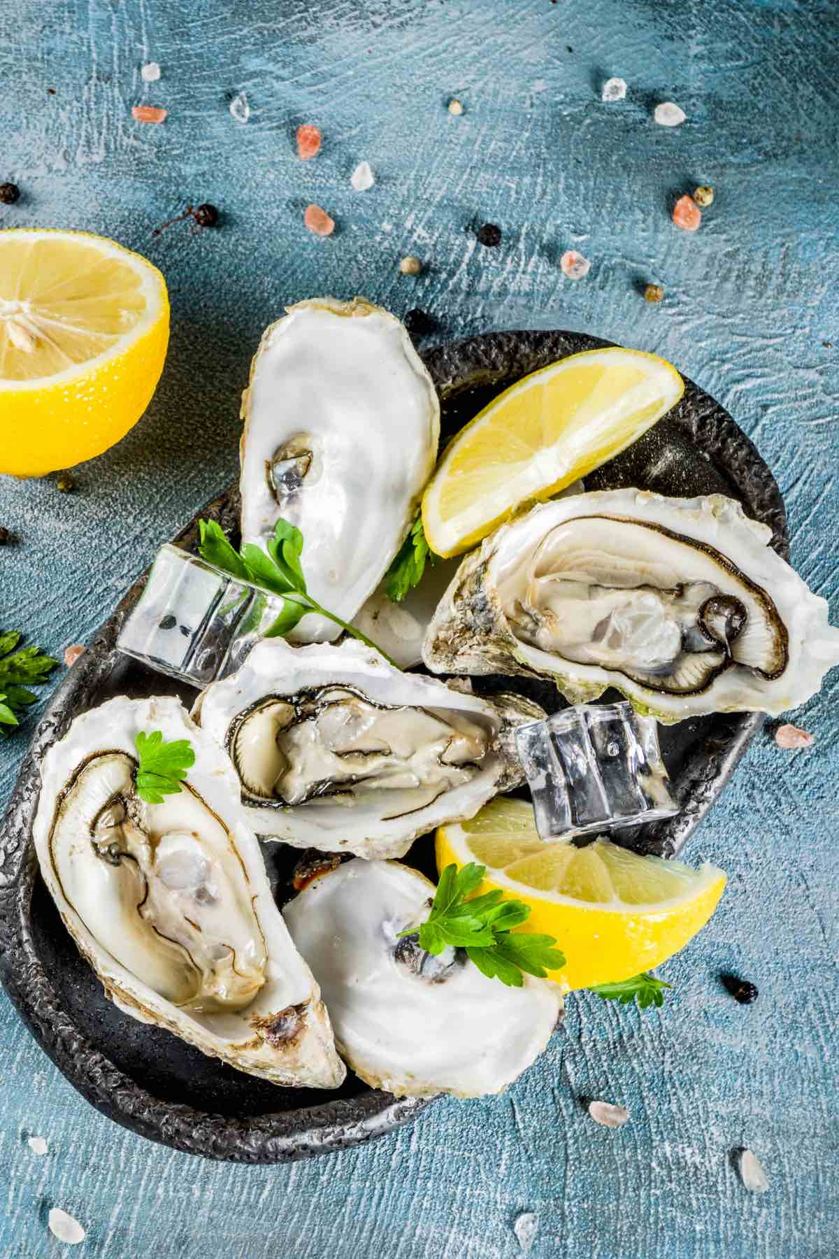 Fresh oysters that are plump with a glossy appearance
