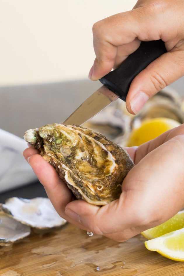Wiggling the blade of the knife into the back of the hinge to open the oyster