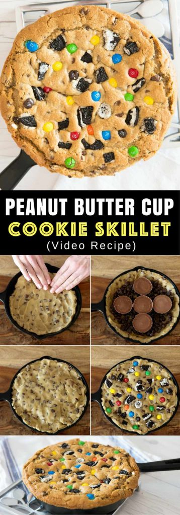 Peanut Butter Cup Cookie Skillet – The BEST soft and chewy big chocolate chip cookies loaded with peanut butter cups, M&Ms and Oreos! Quick and easy recipe that's so fun to make! All you need is your favorite chocolate chip cookie dough, peanut butter cups and your favorite candies! So simple and so delicious! It's great for snack, parties, or dessert! Great way to used up Halloween candies too! Video recipe. | Tipbuzz.com