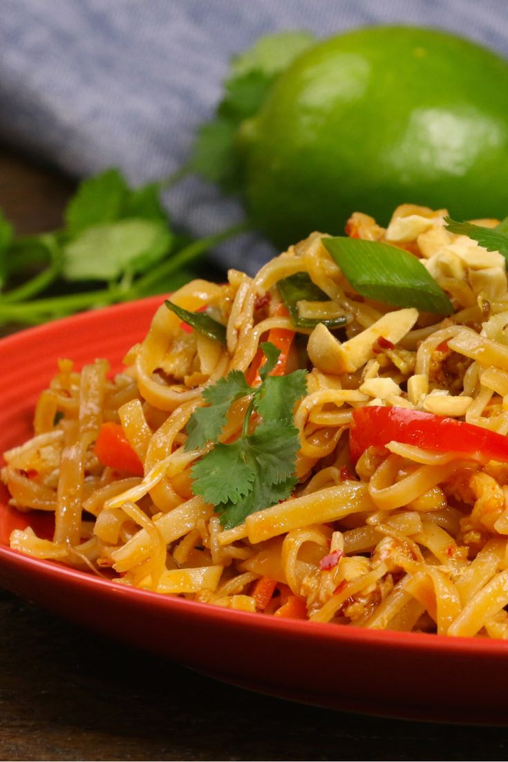 The easiest, most unbelievably delicious Chicken Pad Thai is full of authentic favors and so much better than take outs. And it'll be on your dinner table in just 20 minutes. One of the best Asian dinner ideas! A perfect easy weeknight meal. Quick and easy dinner recipe. Video recipe.
