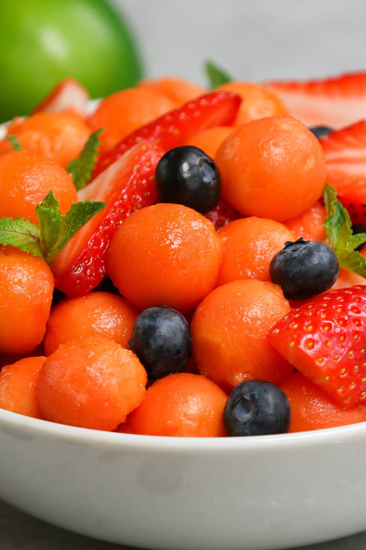 Closeup of papaya fruit salad