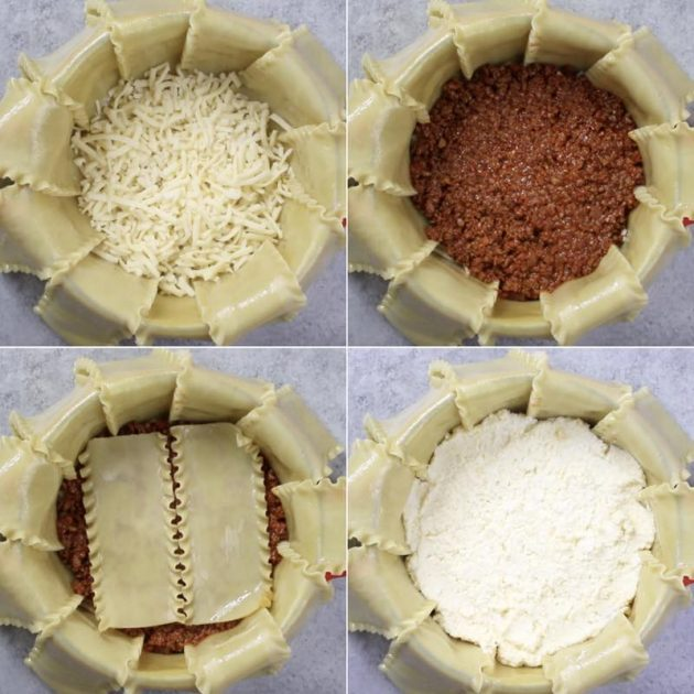This graphic shows how to make the layers of Party Lasagna inside a round ovenproof pot