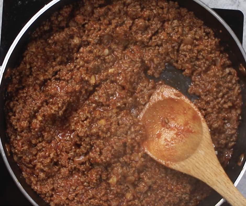 This photo shows the thick meat sauce once when it's ready to be put into Party Lasagna