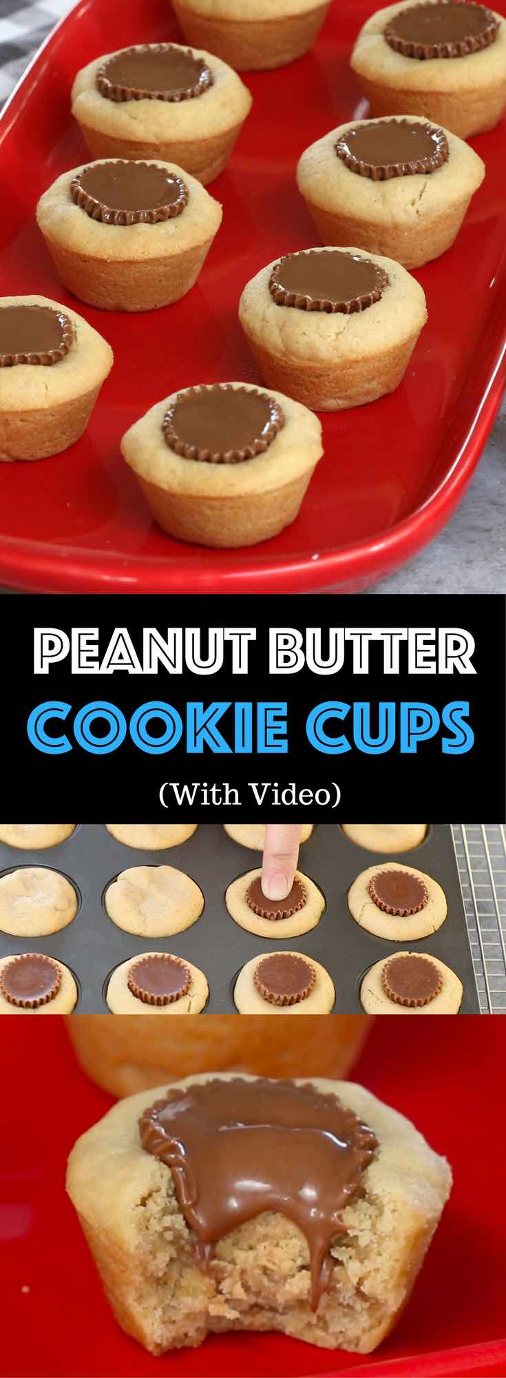 Peanut Butter Cup Cookies –Unbelievably delicious desserts or snacks recipe that's fool proof. Miniature Reese's peanut butter cups stuffed inside soft and chewy cookie cups, creating wonderful cookie cups that melt in your mouth. All you need is only a few simple ingredients. Fun recipe to make with kids. Quick and Easy recipe that takes only 25 minutes. Dessert, Party Food. Vegetarian. Video recipe. | Tipbuzz.com
