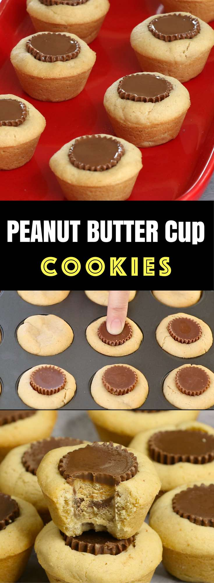 Peanut Butter Cup Cookies –Unbelievably delicious desserts or snacks recipe that's fool proof. Miniature Reese's peanut butter cups stuffed inside soft and chewy cookie cups, creating a wonderful cookie cups that melt in your mouth. All you need is only a few simple ingredients. Fun recipe to make with kids. Quick and Easy recipe that takes only 25 minutes. Dessert, Party Food. Vegetarian. Video recipe.