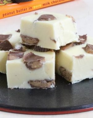 This 3 Ingredient Peanut Butter Cup Fudge is easy to make and so good!