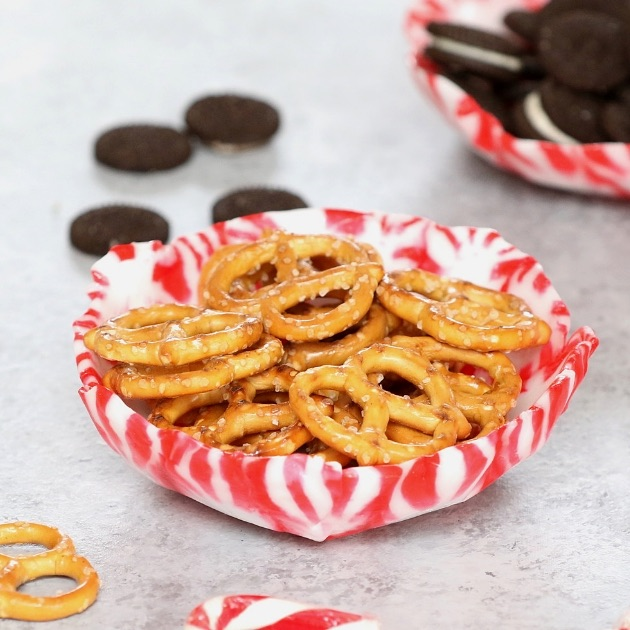 Homemade Peppermint Bowl filled with pretzels and snacks for a party