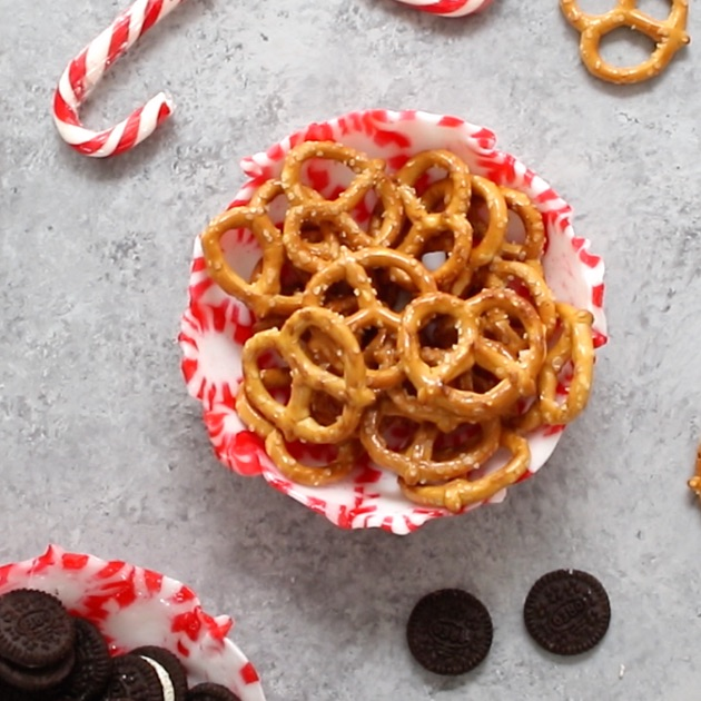 A homemade peppermint bowl is perfect for holding candies, nuts, and other finger food for a colorful and festive addition to a holiday table