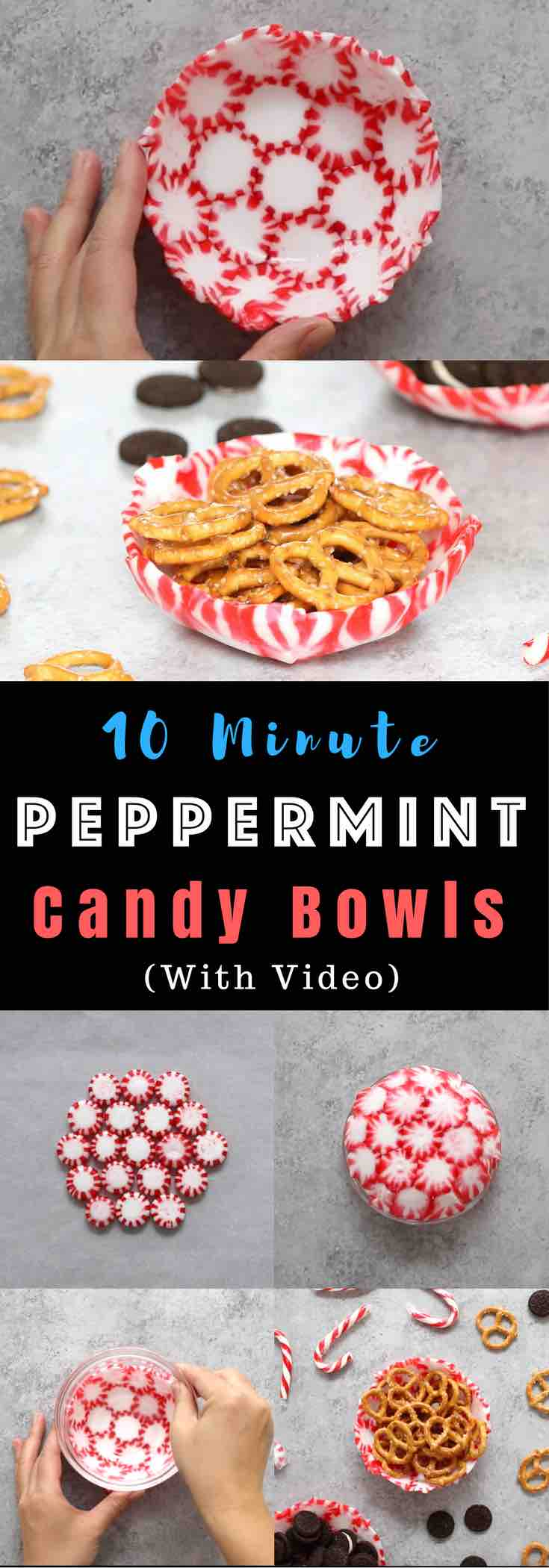 A colorful Peppermint Candy Bowl is a quick and easy DIY decoration for the holidays! See how to make them!