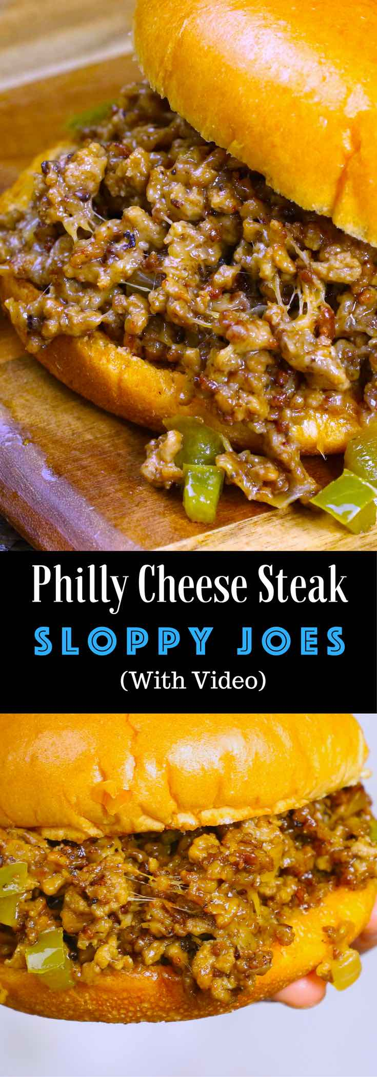 The easiest and most unbelievably delicious Philly Cheesesteak Sloppy Joes! And it'll be on your dinner table in just 20 minutes. All you need is only a few simple ingredients: ground beef, beef broth, Worcestershire sauce, catchup, cornstarch and hamburger buns. Quick and easy dinner or lunch recipe. Video recipe. | Tipbuzz.com