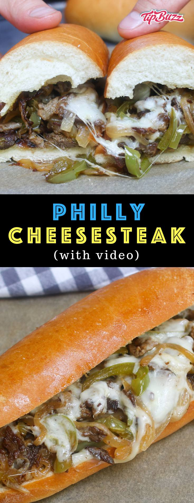 Philly cheesesteak recipe is made with thinly sliced rib-eye beef and sautéed onions, topped with ooey, gooey, melted provolone or Cheez Whiz, and served on a soft yet crusty hoagie roll!