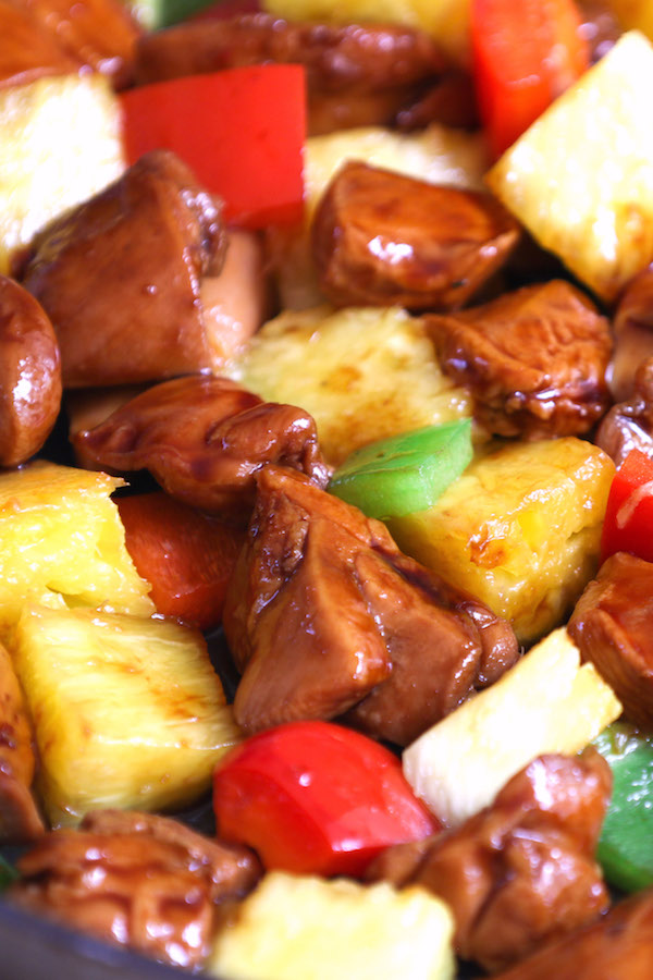 Closeup of Chinese-style Pineapple Chicken showing the beautiful colors and crunchy textures of this stir fry