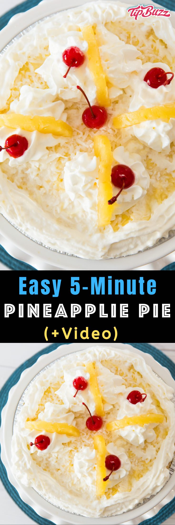 Easy Pineapple Pie is so creamy and refreshing! It only takes a few minutes to prepare this stunning, no-bake dessert that's loaded with tropical flavors!