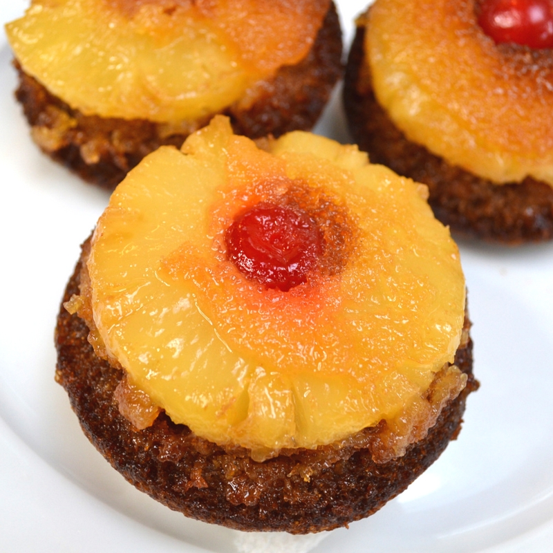 Pineapple Upside Down Cupcakes served on a plate