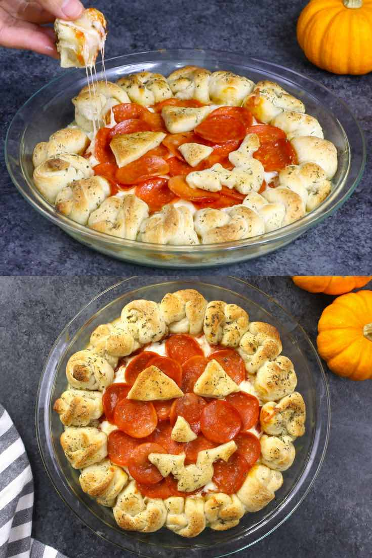 Halloween pizza dip with a jack-o-lantern theme