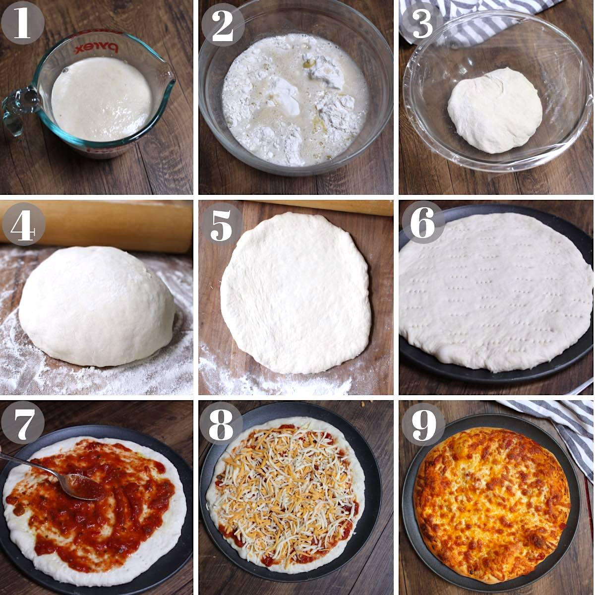 Pizza dough photo collage with 9 images showing the entire cooking process