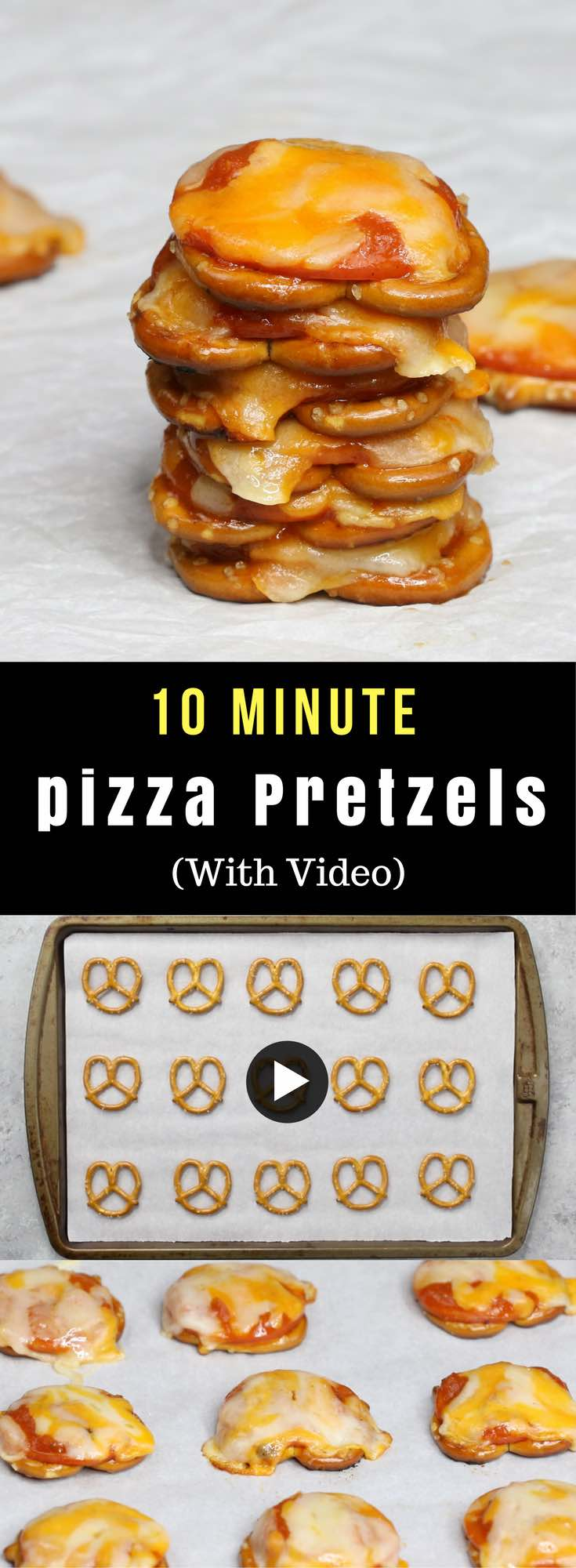 Pizza Pretzels – only 4 ingredients and 10 minutes. Super easy and perfect for an after school snack! All you need is 4 simple ingredients: pretzels, pepperoni, pasta sauce and shredded mozzarella. Quick and easy recipe. Video recipe. | Tipbuzz.com