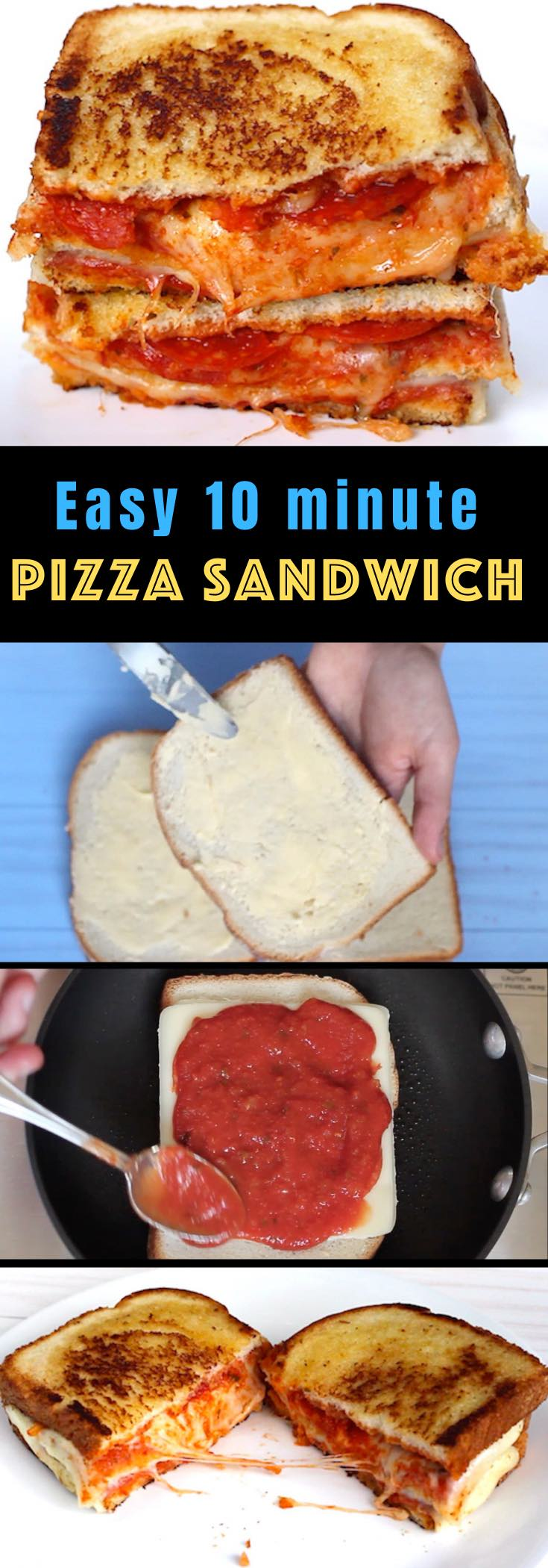 These easy Pizza Sandwiches combine your favorite bread with delicious pizza toppings such as pepperoni and mozzarella cheese, all cooked to golden cheesy perfection. They'll take your love for grilled cheese to a new level!