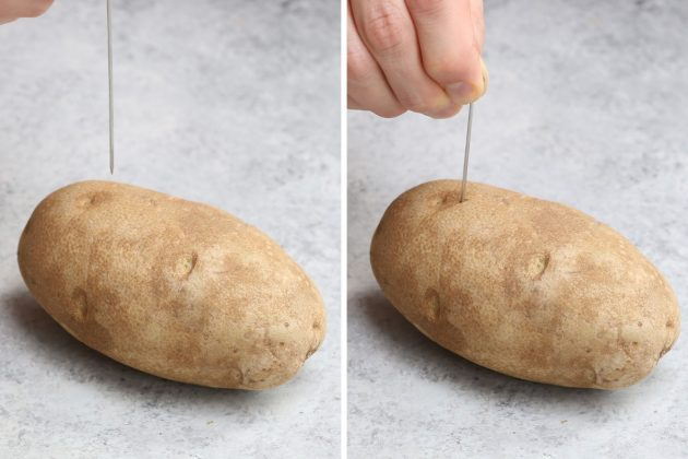 Poking holes in potatoes using a small skewer