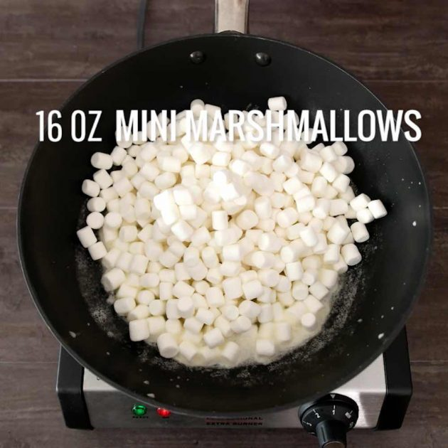 Melting marshmallows for Popcorn Cake