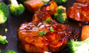 Baked Bone-in Pork Chops are juicy, tender, sticky and garlicky. They are full of flavor and really easy to make. The perfect and never-dry pork chops with restaurant quality can be easily achieved with a few simple tips.