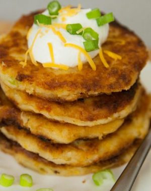 These Cheesy Mashed Potato Pancakes are an easy and tasty breakfast recipe