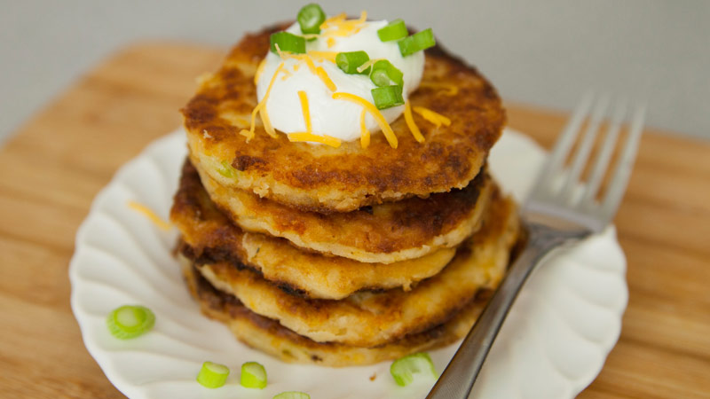 Cheesy mashed potato pancakes recipe with video tipbuzz cheesy mashed potato pancakes ccuart Image collections