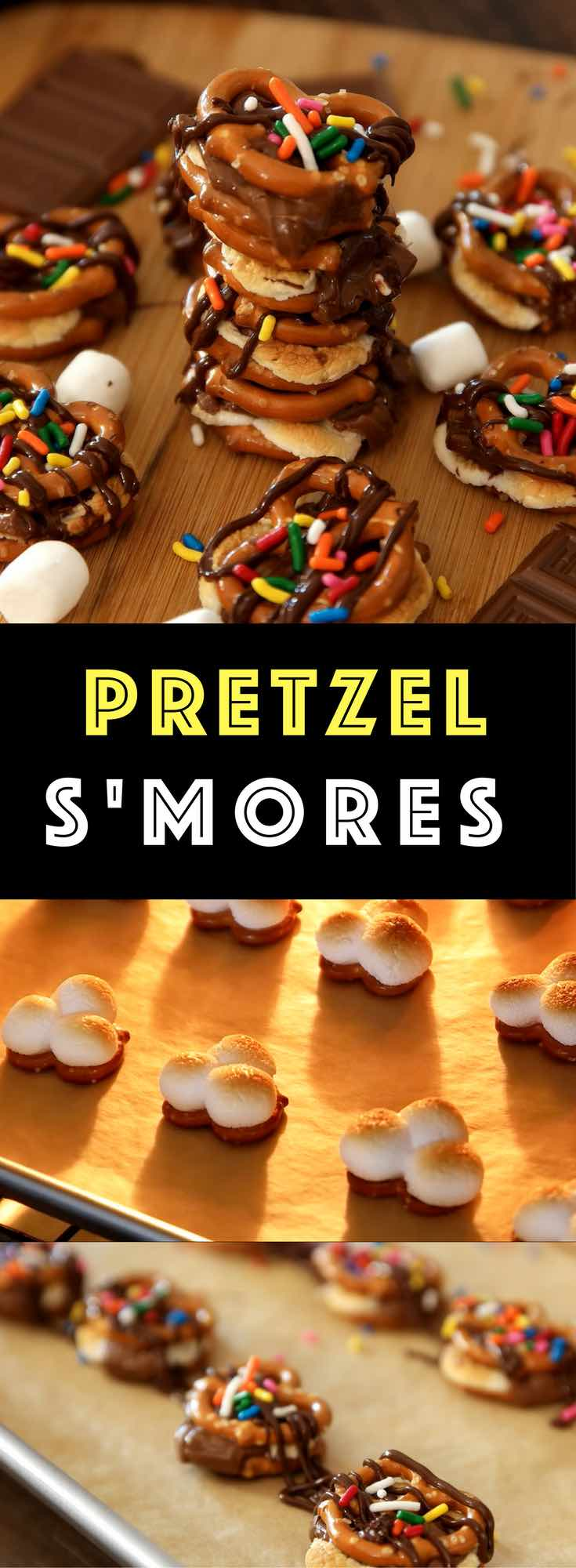 "Easy Pretzel S'mores – marshmallow and chocolate pretzel ""sandwiches"" baked to gooey perfection, then drizzled with chocolate sauce. You can't go wrong. All you need is only 3 ingredients: pretzels, marshmallows and Hershey's chocolate bars. Chocolate sauce and Sprinkles are optional if you'd like to add some fun and colors to it. SO GOOD! Fun recipe to make with kids. Quick and Easy recipe. 3 Ingredient Video recipe."