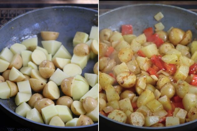 Sauteeing chopped potatoes until brown before adding back the onions and bell peppers