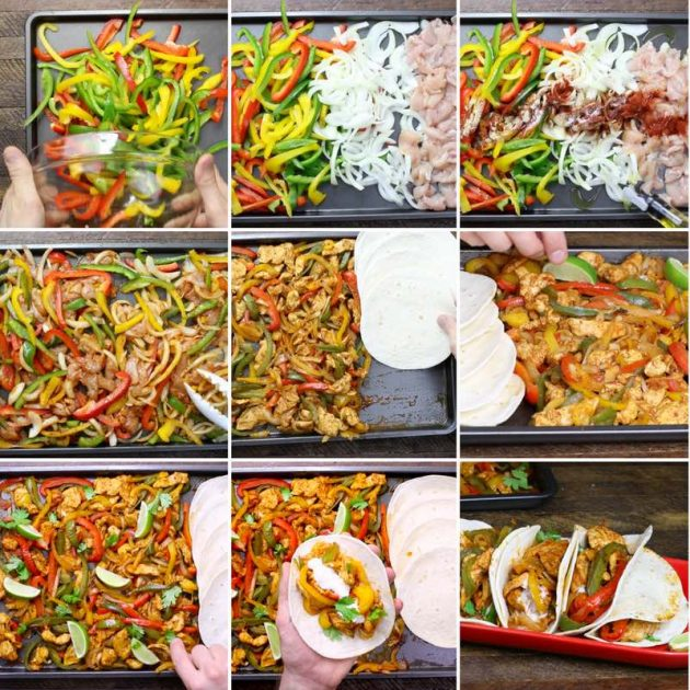 Baked Chicken Fajitas - this graphic shows all the key steps to easily make chicken fajitas in the oven using a sheet pan