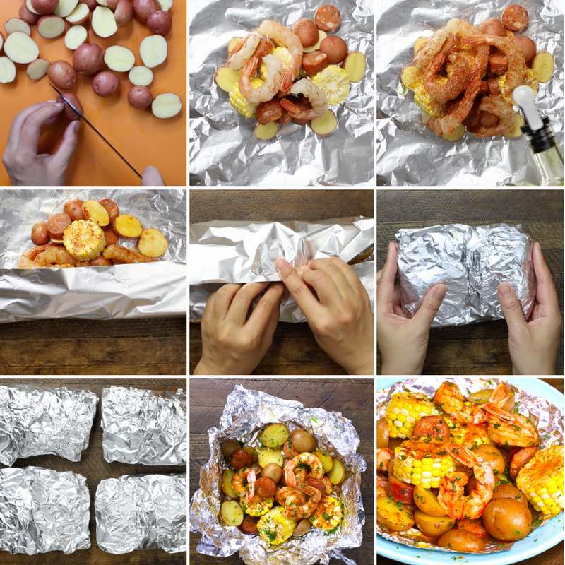 Shrimp Boil Foil Packets - this graphic shows the key steps for making this delicious 20-minute recipe at home