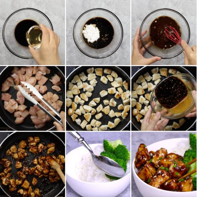 Teriyaki Chicken - this graphic shows the key steps for making teriyaki sauce and adding it to chicken for a quick stir fry recipe you can make in 15 minutes for an easy dinner option