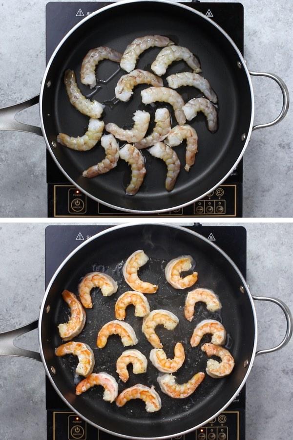Sauteeing jumbo shrimp in a skillet