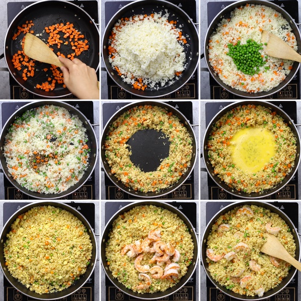 Steps to make cauliflower shrimp fried rice in a skillet