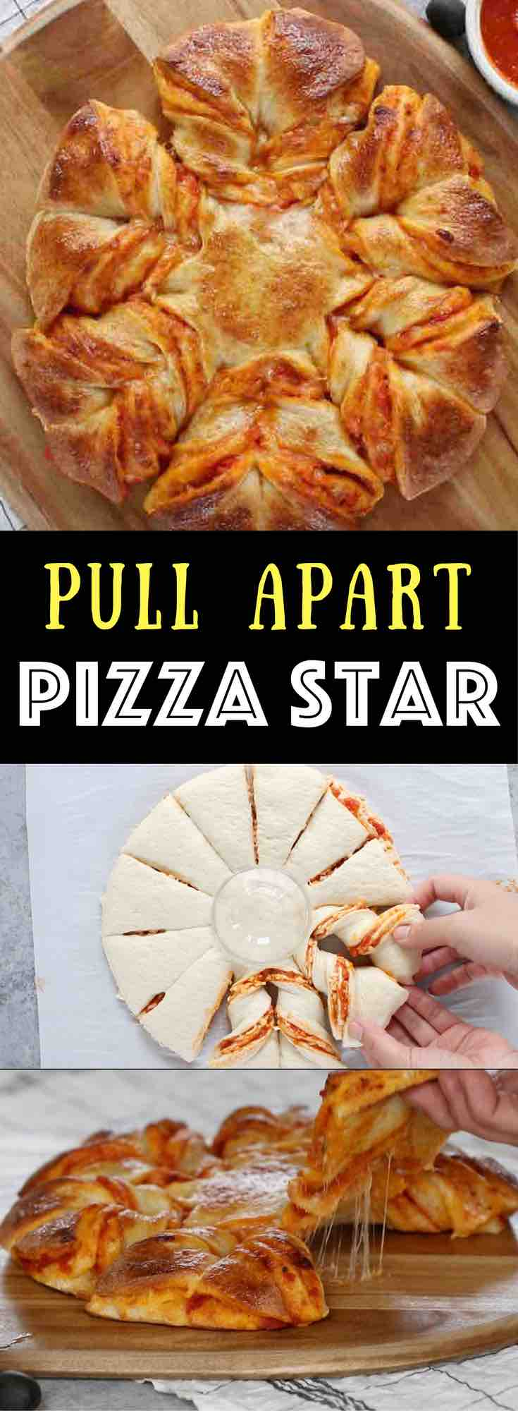 Pull Apart Pizza Star - warm, cheesy and pull apart Pizza! The easiest and fun pizza recipe that can be prepared in 5 minutes and ready in 20 minutes. All you need is only 5 ingredients: refrigerated pizza dough, marinara sauce, shredded mozzarella, egg and water. The perfect snack, lunch or quick dinner. Fun for game day too, and you will wow your guests! Quick and easy recipe. Party food, easy dinner. Video recipe.   Tipbuzz.com