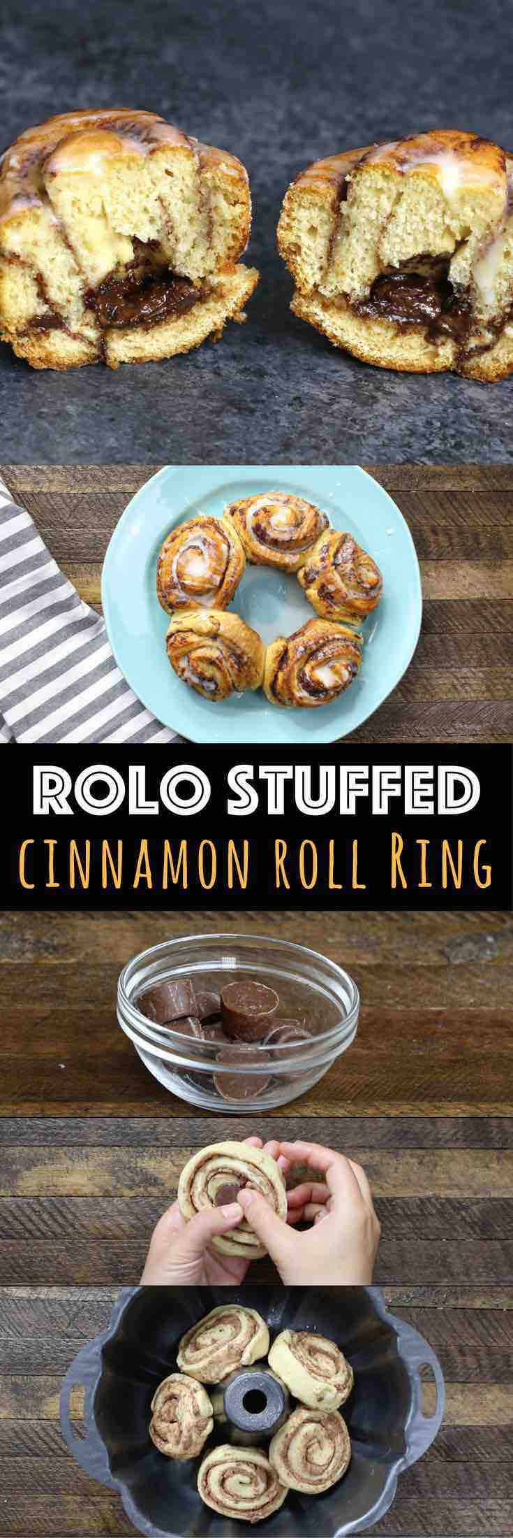 Rolo Stuffed Cinnamon Roll Ring – An easy and fun dessert recipe that's so easy to make. All you need is only Cinnamon Roll dough and Rolo candies. Stuff Rolo into the cinnamon rolls, arrange them in a ring shape in the Bundt pan, and bake! Then drizzle with icing. So good! Quick and easy recipe, 3 Ingredient video recipe. | Tipbuzz.com