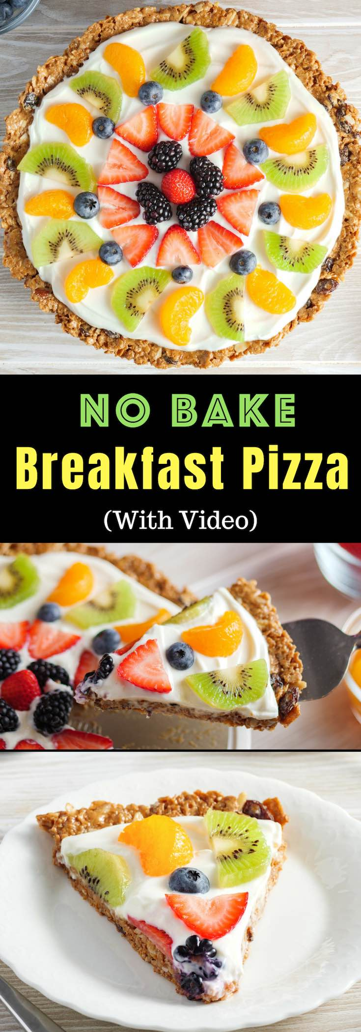 Raisin Bran Breakfast Pizza is an easy No Bake Fruit Pizza recipe for breakfast, brunch, parties and holidays made with a Kelloggs's Raisin Bran crust, fresh fruit and Greek yogurt #KelloggsCerealYourWay #ad