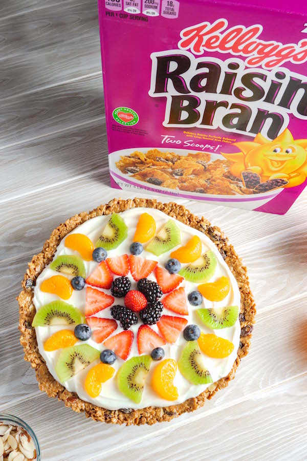 Raisin Bran Fruit Pizza is an delicious no-bake breakfast that's easy to make using Raisin Bran cereal