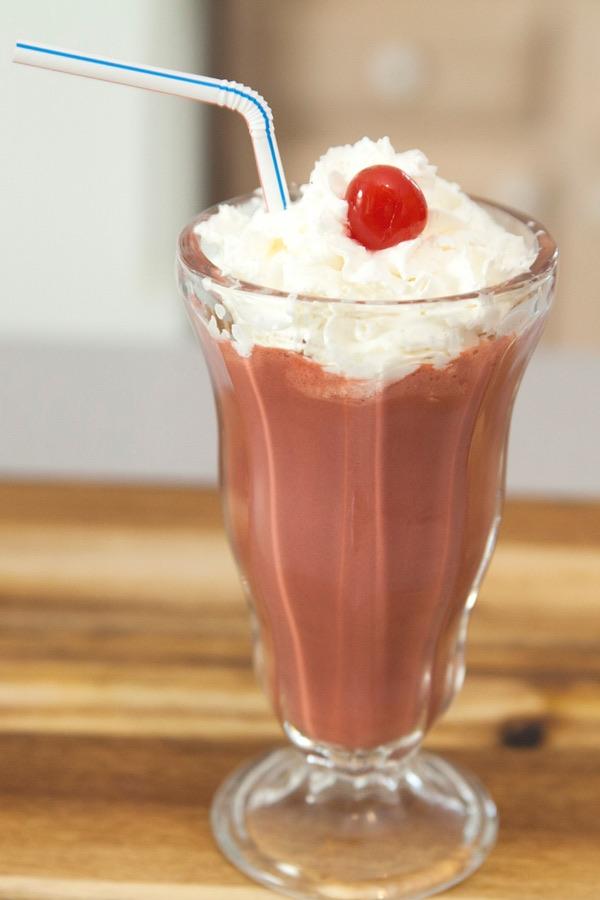 Cake batter milkshake made with red velvet cake mix