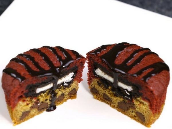 Red Velvet Slutty Brownie Cupcakes Closeup