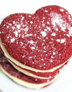 These Red Velvet Cake Mix Cookies are a perfectly romantic treat!