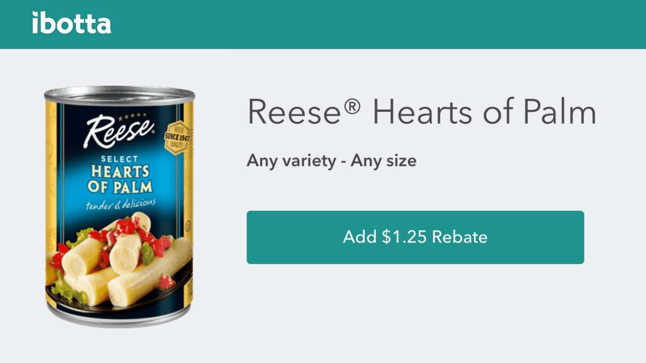 Ibotta rebate offer for Reese Specialty Foods products
