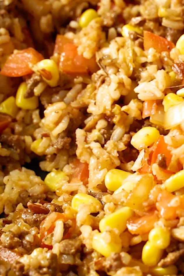 Closeup of rice stuffing for making Stuffed Bell Peppers