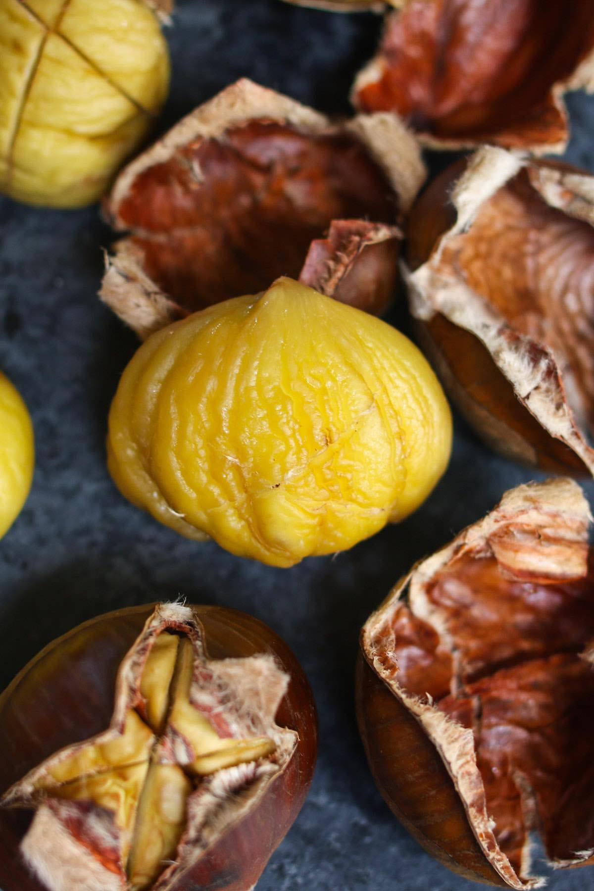 Closeup of peeled chestnuts after roasting.