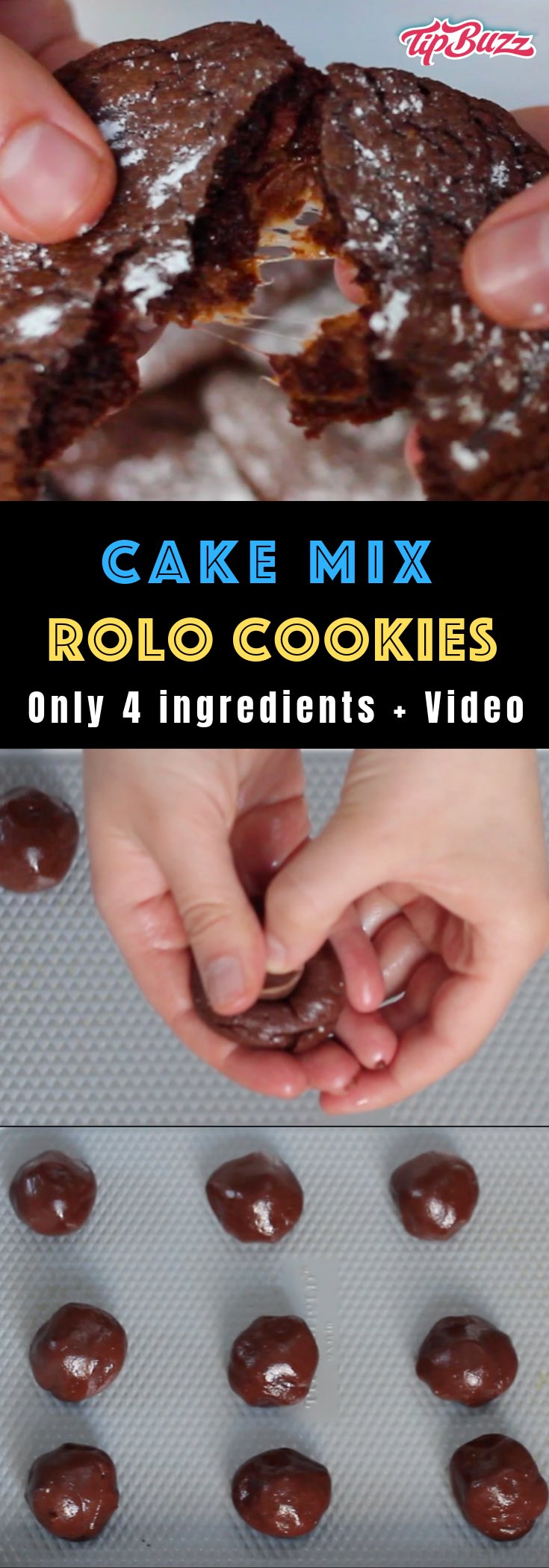 These Rolo Cookies are soft and chewy treats filled with a Rolo chocolate caramel in the middle. It will take your cookie game to the next level! This 4-ingredient Rolo stuffed cake mix cookies recipe is so easy to make and perfect for holidays.