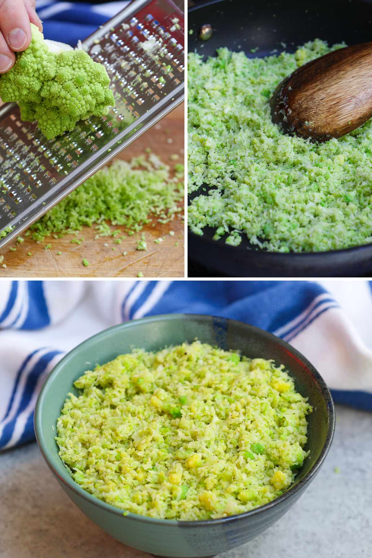 Preparing romanesco rice by grating, sauteing and service