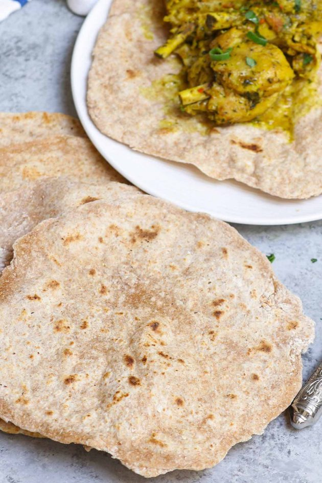 Roti flatbreads with chicken curry