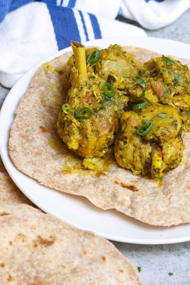 Roti stuffed with curry chicken