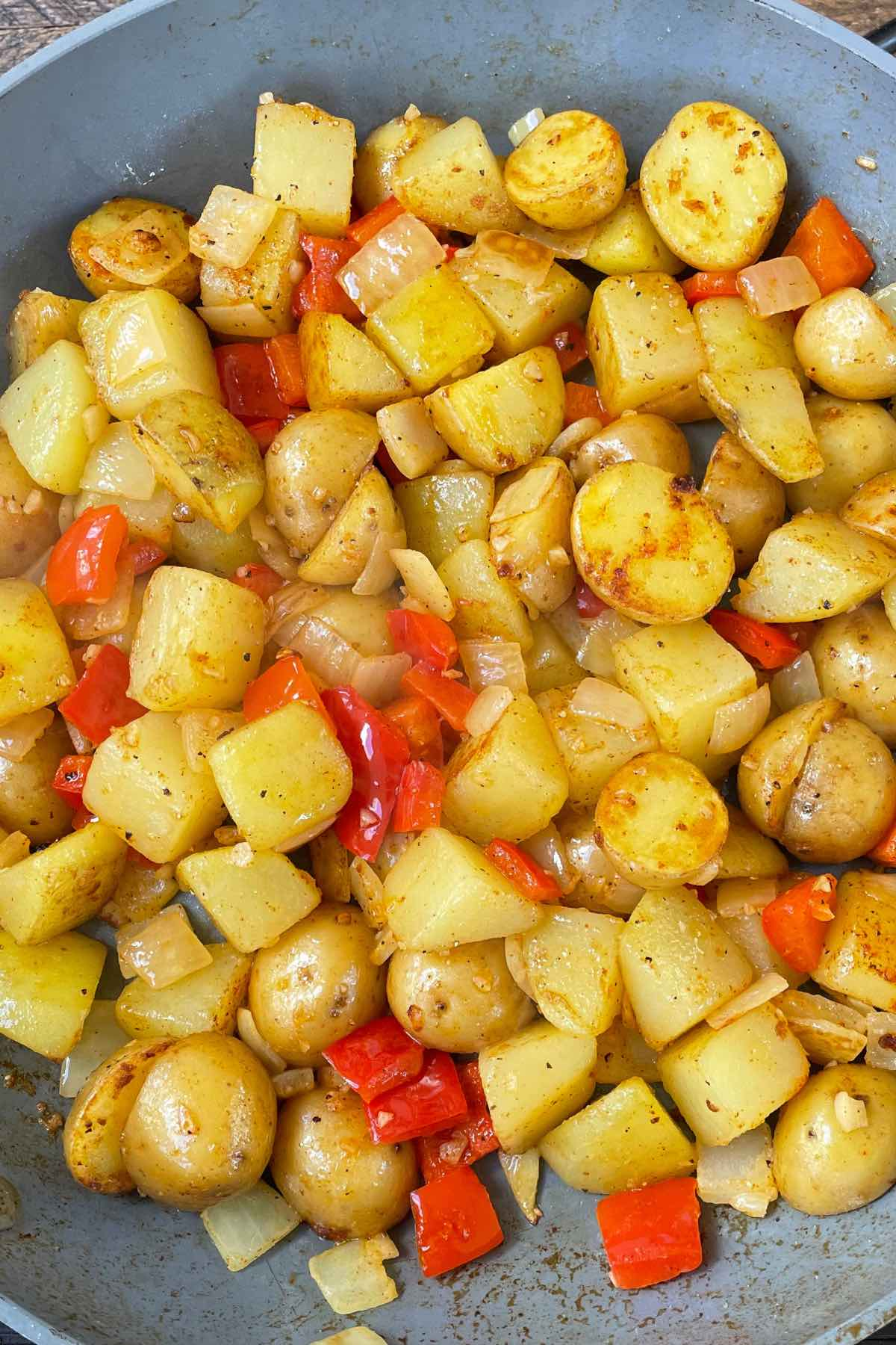 Sauteed southern vegetables in a skillet