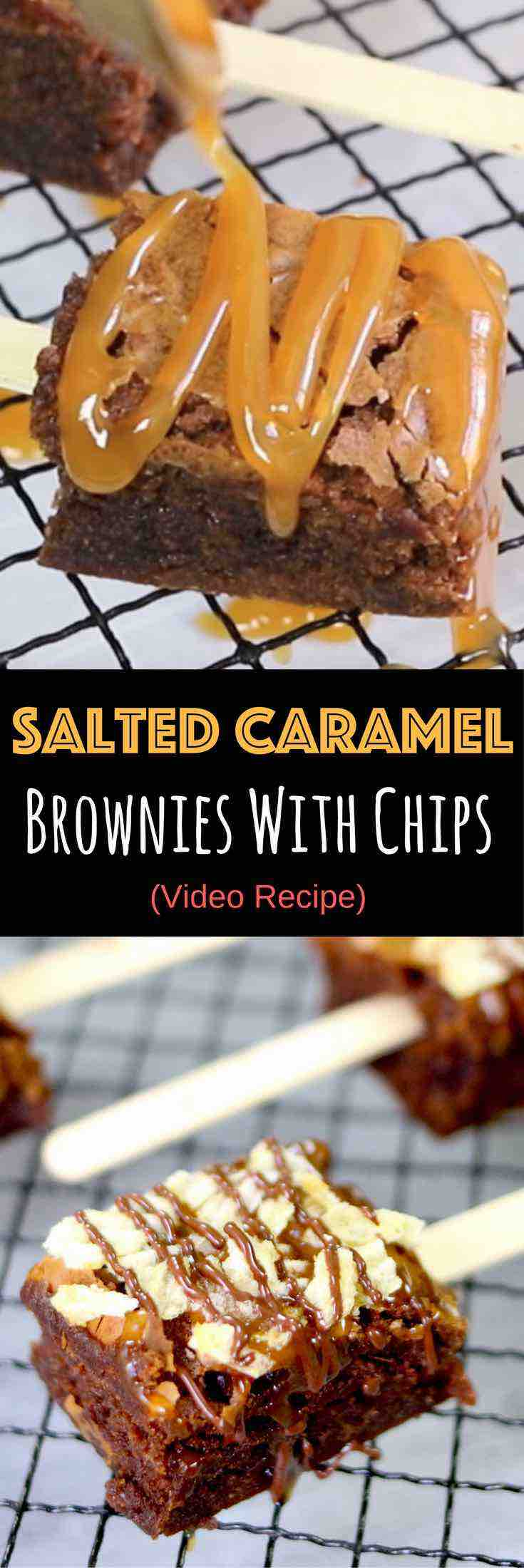 Salted Caramel Brownies With Chips – Soft and Moist brownies topped with gooey caramel and potato chips, then drizzled with melted chocolate. The sweet and salty make a perfect combination in these brownie bites. It's pretty amazing! So easy and so delicious! Quick and easy recipe. Party Food. Video recipe. | Tipbuzz.com